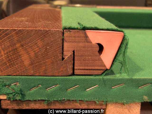 cushion fixation on a billiard table